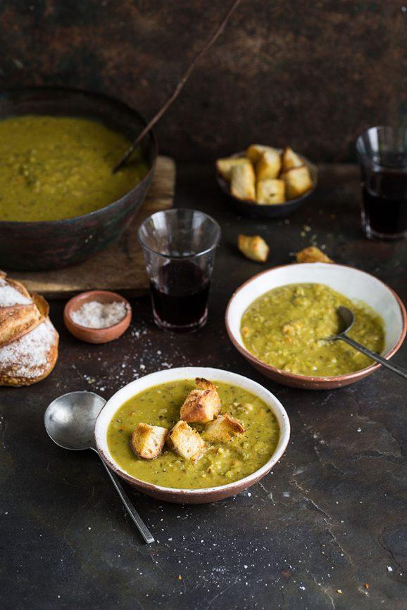 A classic split pea and ham hock soup