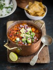 A super healthy and delicious vegan chili with sweet potato