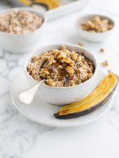 How to make steel cut oats with roasted banana, maple and cinnamon