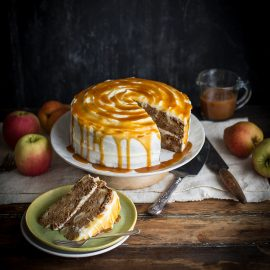 apple & pear cake with cream cheese frosting & salted caramel