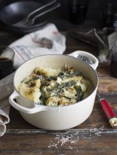 creamy oven risotto with spinach, roasted cauliflower & sage