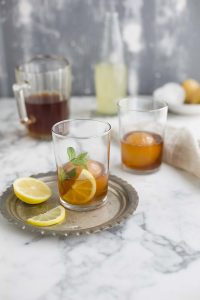 Rooibos & mint iced tea with lychee, lemon & ginger   Drizzleanddip by Sam Linsell