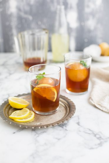 Rooibos & mint iced tea with lychee, lemon & ginger | Drizzleanddip by Sam Linsell
