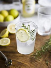 Gin & tonic with lemon cordial & rosemary
