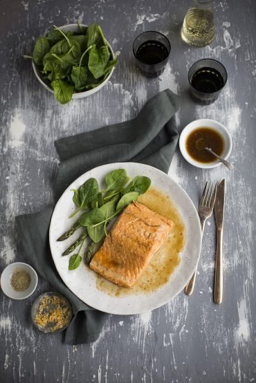 Salmon poached in lapsang souchong tea with ginger, lemon & honey | DrizzleandDip.com