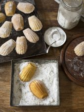 An easy recipe for madeleines with lavender & lemon sugar