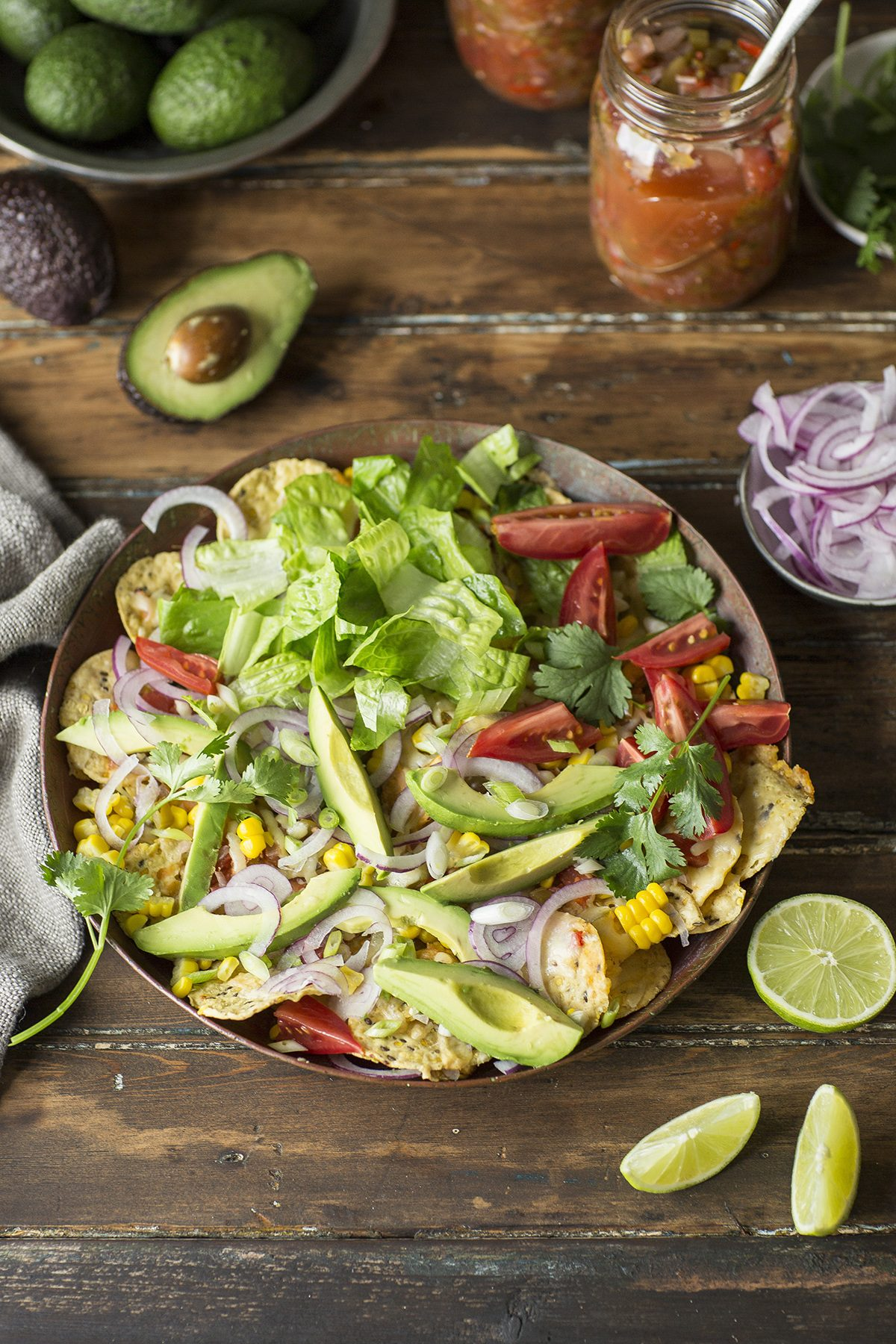 A delicious recipe for loaded salad nachos