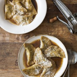 Spinach & ricotta dumpling recipe in vegan umami broth