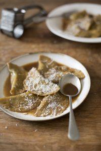 Spinach & ricotta dumpling recipe in vegan umami broth
