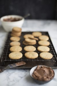 coffee, chocolate & nutella cookie sandwiches