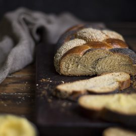 six strand braided honey bread