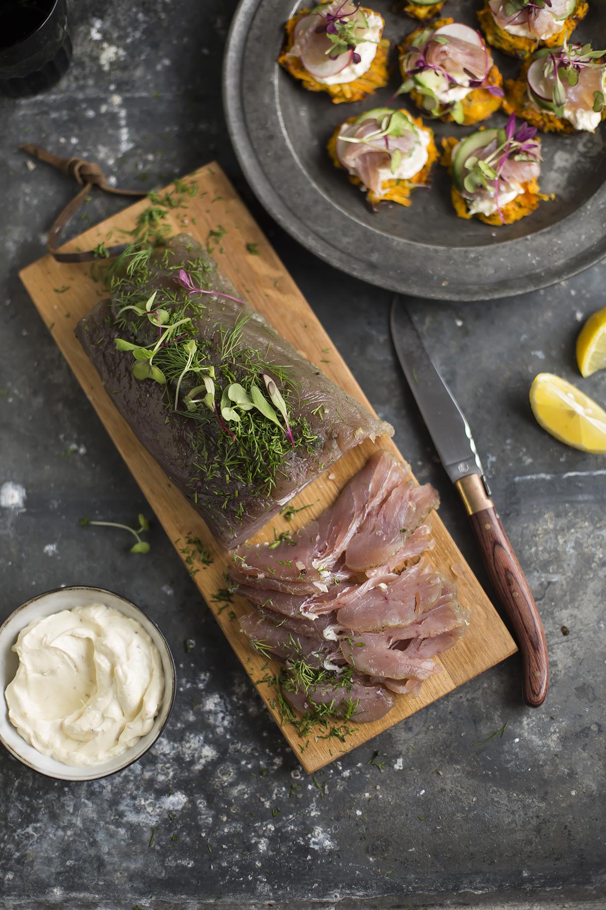 Tuna gravadlax with juniper & dill on butternut rosti