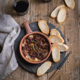 baked camembert dip with sundried tomatoes, garlic & thyme