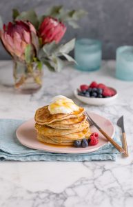 Fluffy blueberry & banana pancakes with a dash of oats