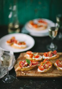 Tomato & basil crostini with whipped goats cheese
