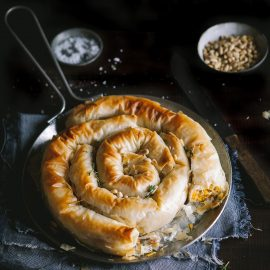 Roasted butternut, ricotta & feta phyllo serpent pie