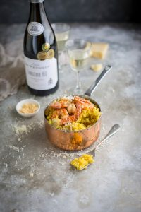 Risotto alla milanese with brown butter pan fried prawns