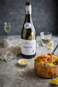 Risotto alla milanese with brown butter pan fried prawns & DE Wetshof Limestone Hill 2017