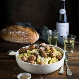 Linguini in a creamy roasted onion & fennel sauce with pork meatballs