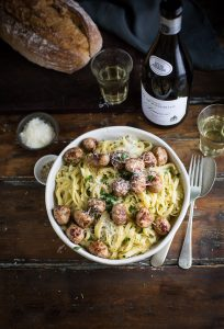 Pasta in a creamy roasted onion & fennel sauce with pork meatballs