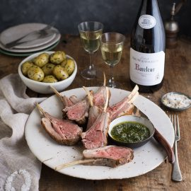 Rack of lamb with minty salsa verde