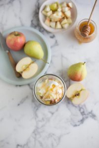 Pear, apple and cinnamon overnight oats with honey