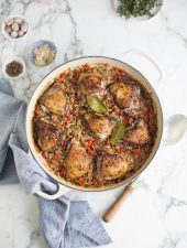 One pot jerk chicken & spicy rice