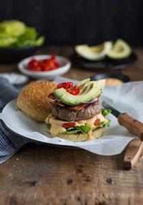 A South African Boerewors burger with avocado, bacon & peppadew recipe