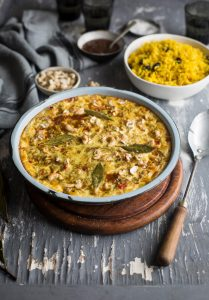 A traditional South African bobotie recipe with fragrant yellow rice