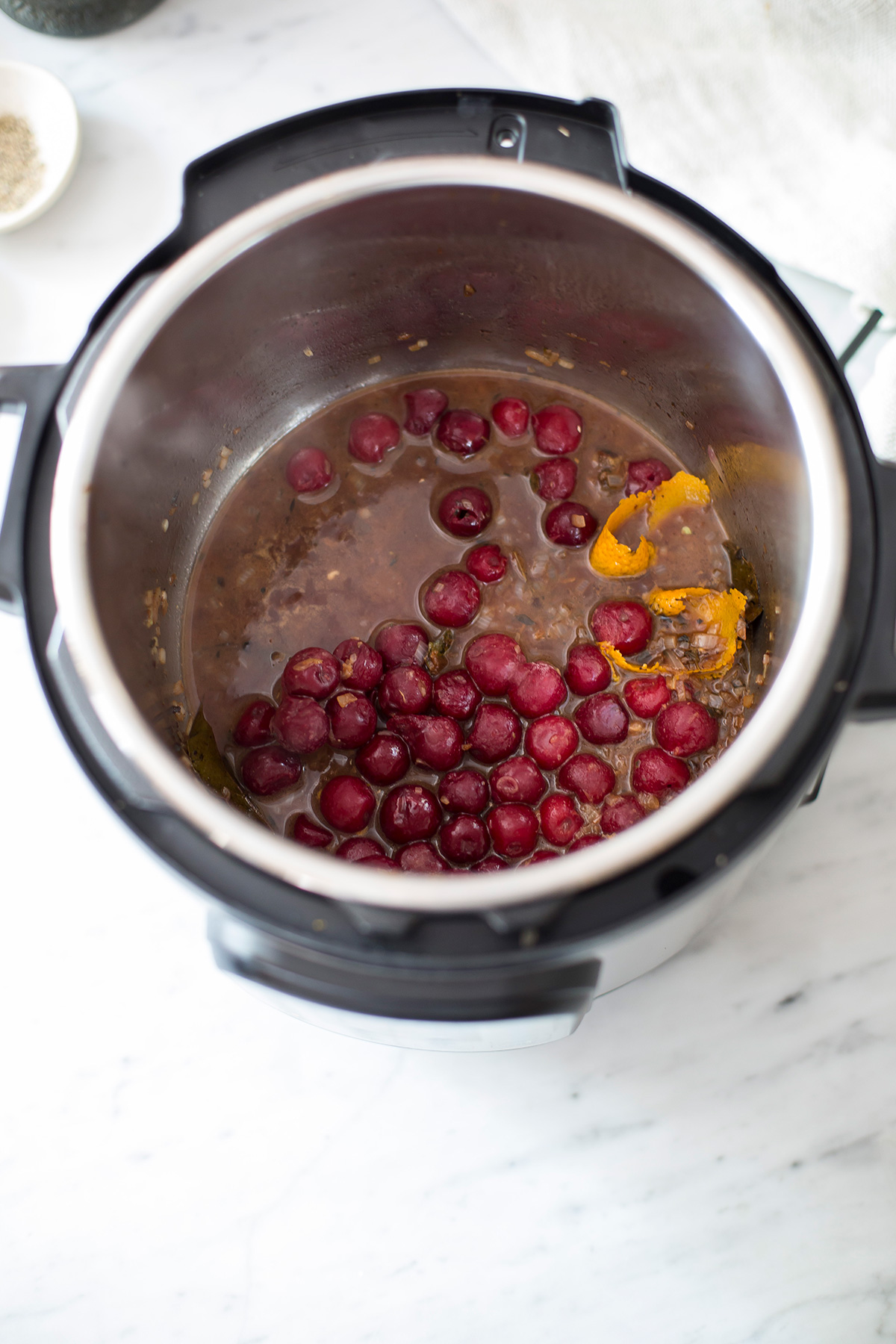 Confit duck legs with cherry sauce made in the Instant Pot