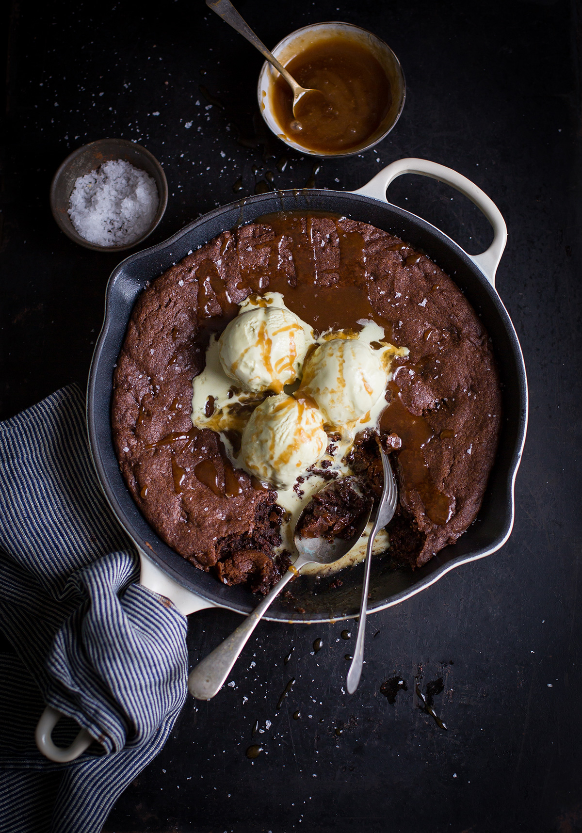 Double chocolate chip skillet cookie