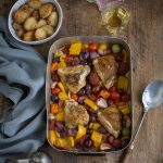 Spanish roast chicken & chorizo with tomatoes, olives & peppers