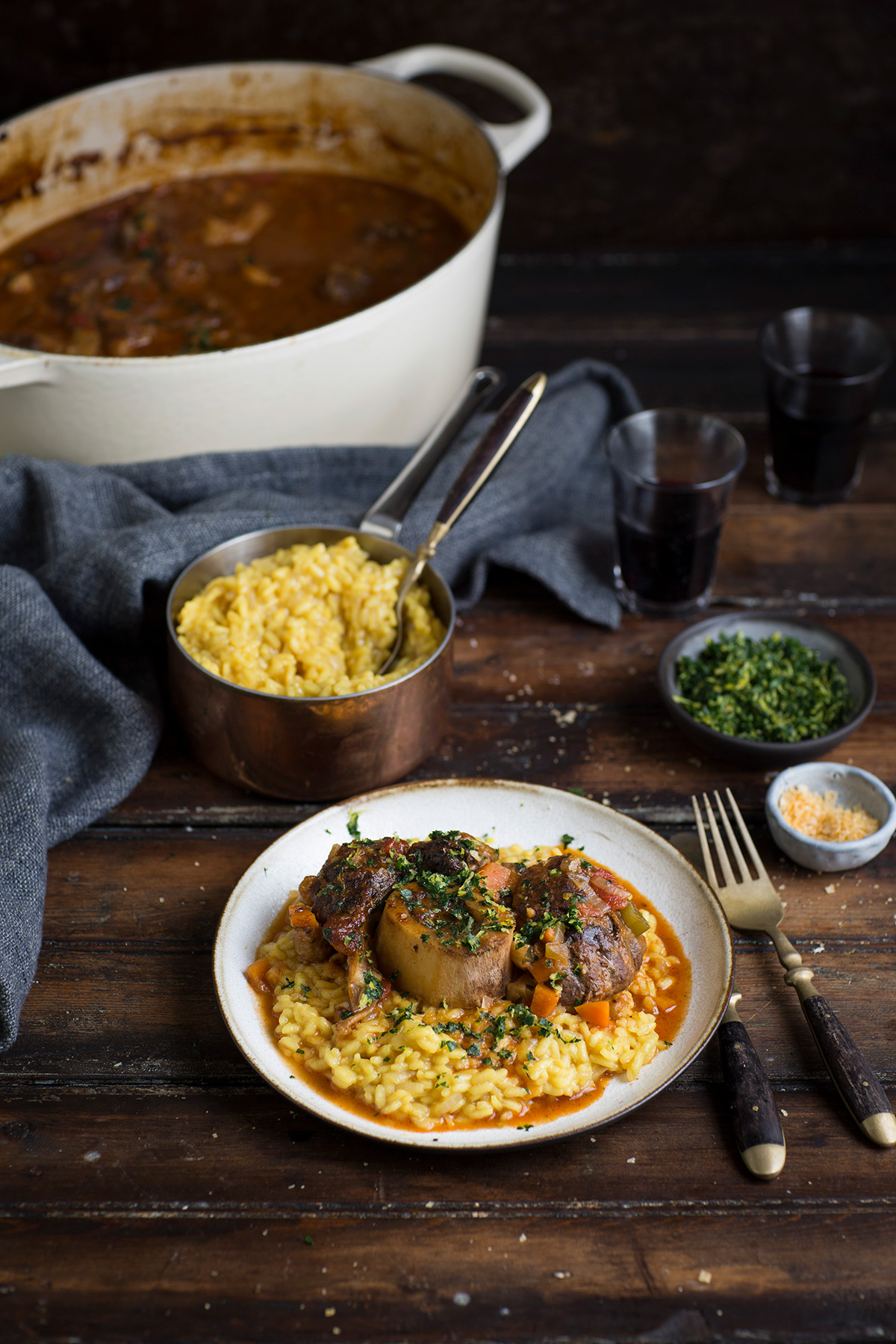 A classic Osso Bucco recipe with risotto Milanese