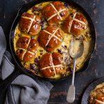 Hot cross bun pudding with chocolate & marmalade recipe