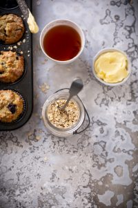 Easy lemon & blueberry yoghurt muffins with oats recipe