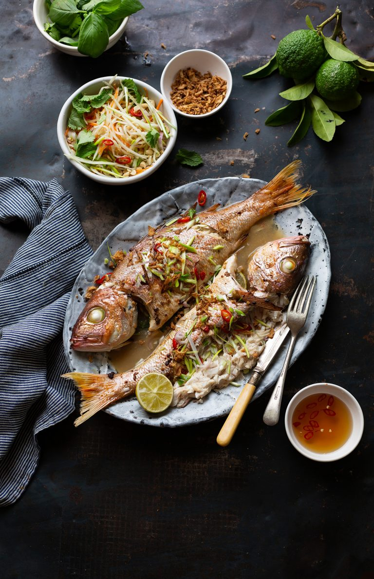 Whole roasted silverfish with Asian flavours