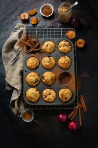 Easy plum muffins with a hint of lemon & cinnamon recipe
