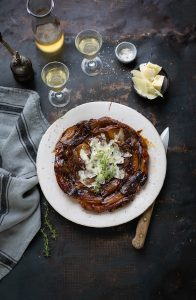 A recipe for an easy roasted shallot tart tartin with thyme