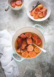 Guavas poached in a chamomile syrup with vanilla & cinnamon recipe