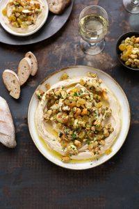 Roasted cauliflower hummus with sultanas & cashew nuts recipe