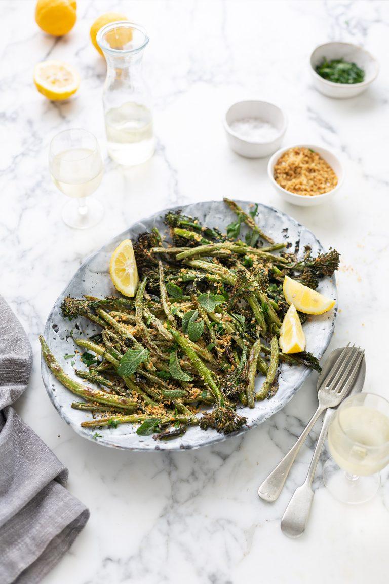 Roasted broccoli, green bean and burrata salad with lemon recipe