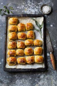 Sausage rolls with apple, sage & raisins recipe