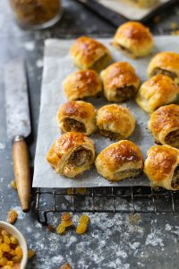 Sausage rolls with apple, sage & raisins recipe