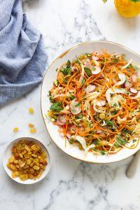 Moroccan carrot & fennel salad with sultanas & pistachios recipe