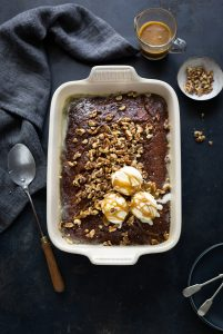 Sticky toffee, fig & walnut pudding with toffee sauce recipe