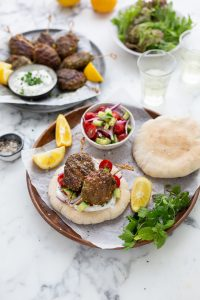 Herby lamb koftas with yoghurt sauce