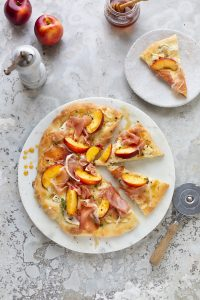 Pizza Bianco with prosciutto, nectarines, thyme & honey recipe