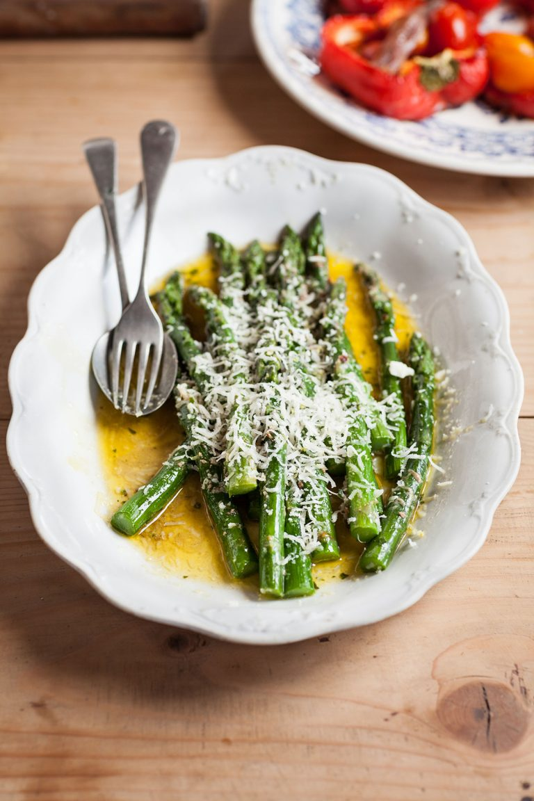 Asparagus with anchovy butter & Parmesan recipe