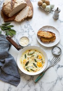 Eggs fried in cream with sage & bay recipe