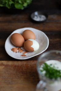 Bacon & egg salad with blue cheese recipe
